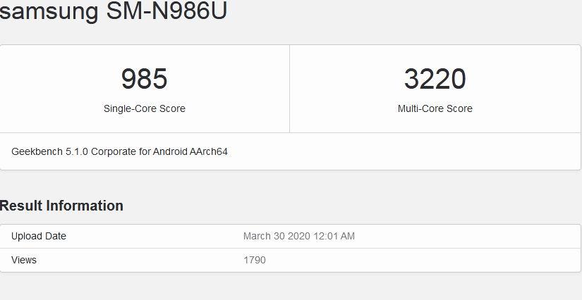 اطلاعات سامسونگ نوت 20 پلاس 5G در سایت GeekBench با کد SM-N986U منتشر شد | مجله اینترنتی دیجی 2030